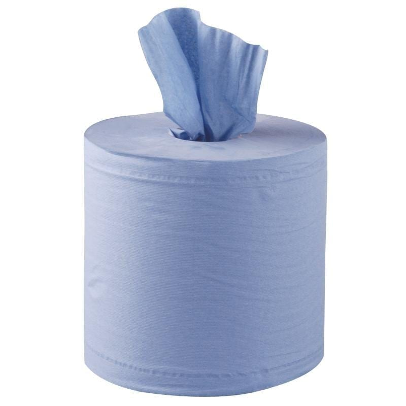 Centrefeed Rolls 2ply 400 sheet - Blue - 6 Pack