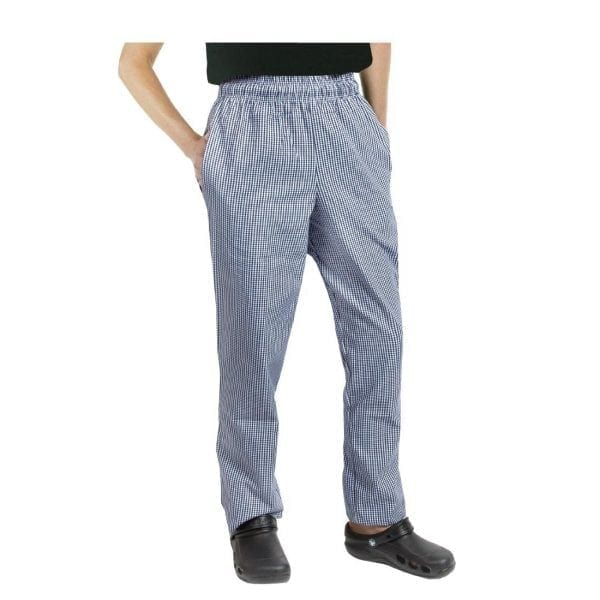 Chef Works Unisex Easyfit Pants Small Blue Check Polycotton - Size M-0