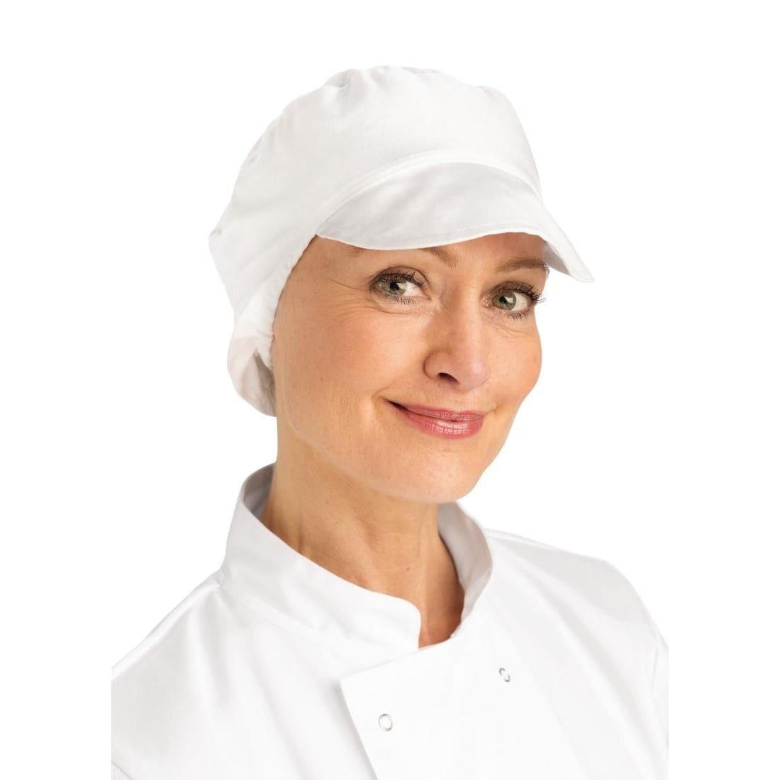Bakers Cap with Snood White - One Size-0