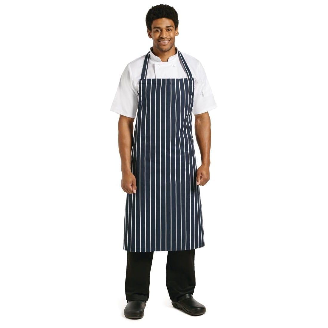 """Bib Apron Blue/White Butchers Stripe - 35-40""""-0"""
