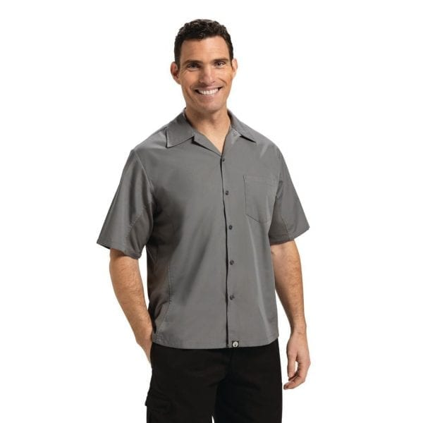 Chef Works Cool Vent Chef Shirt Polycotton Grey - Size M (B2B)-0