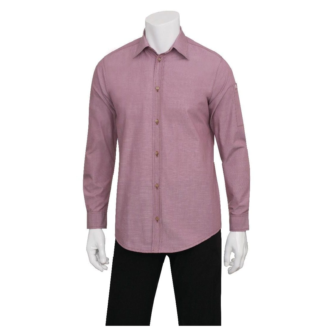 Chef Works Chambray L/S Shirt Dusty Rose - Size L (B2B)-0