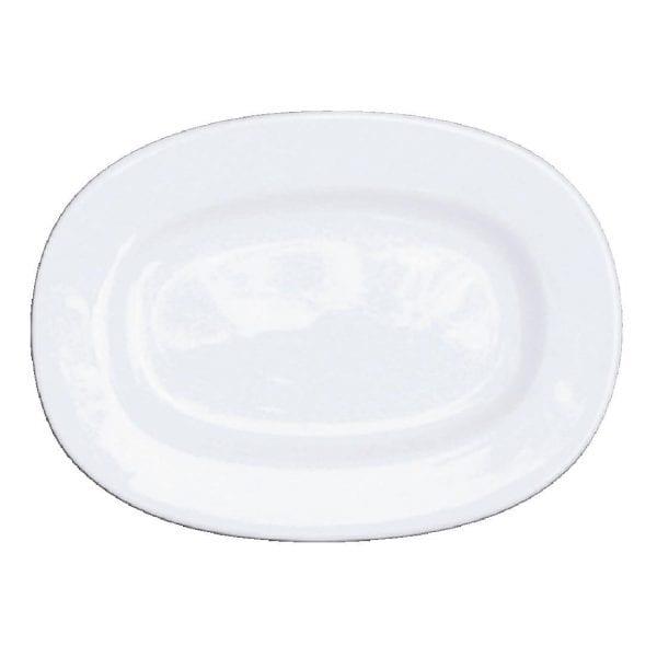 "Alchemy White Rimmed Oval Dish 13"" (Box 6) (Direct)-0"