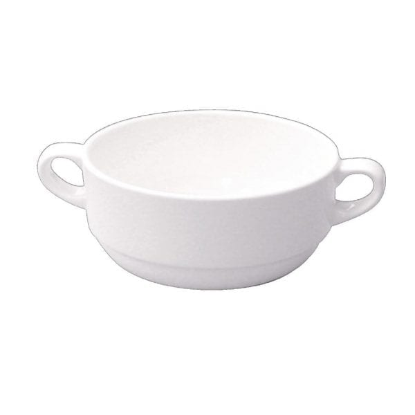 Alchemy White Consomme Bowl Handled 10oz (Box 24) (Direct)-0