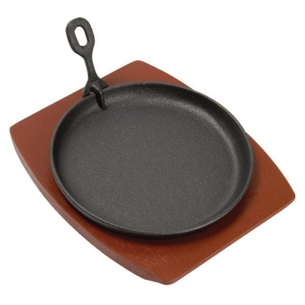 """Olympia Cast Iron Round Sizzler - 220mm 8.5"""" with Wooden Stand-0"""