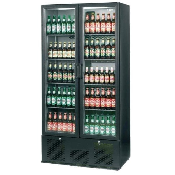 Infrico Full Hght Back Bar Chiller Double Door Charcoal with Black Door (Direct)-0