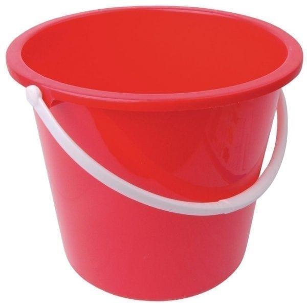 Round Plastic Bucket Red