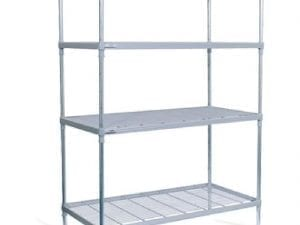 Craven 4tier Nylon Coated Wire Shelving on castors - 1475x390x1800mm