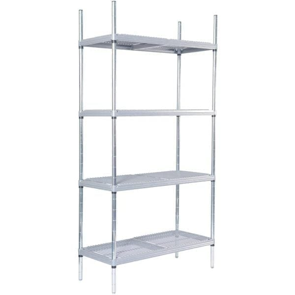 4tier Nylon Coated Wire Shelving with Loose Infill Pads 1175x490x1700mm