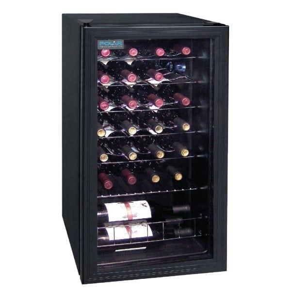 Polar Wine Cooler - 28 Bottles Glass Door Metal Racks-0