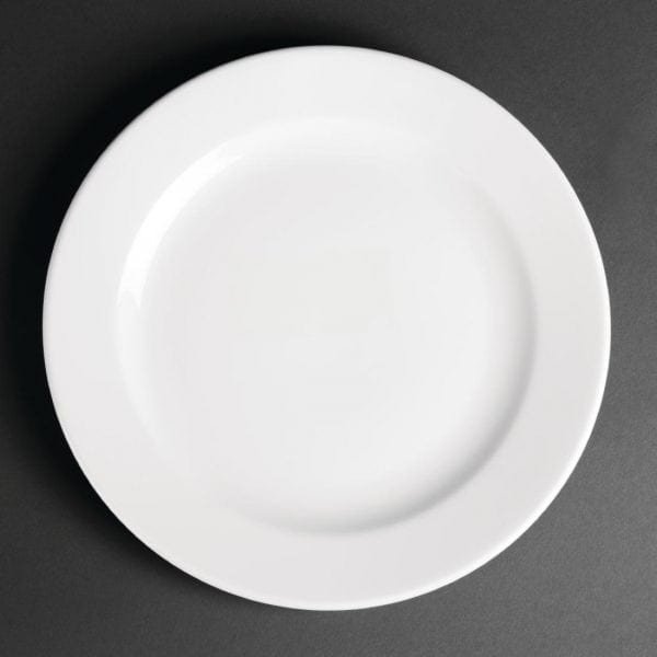 "Royal Porcelain Classic Wide Rim Plate White - 240mm 9 1/2"" (Box 12)-0"