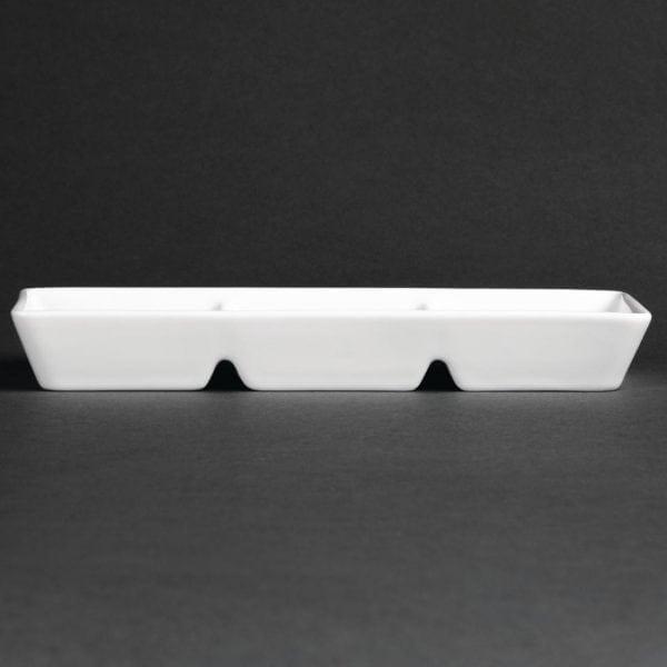 Royal Porcelain Classic Oriental Sauce Dish 3 Compart White - 185x60mm (Box 18)-0