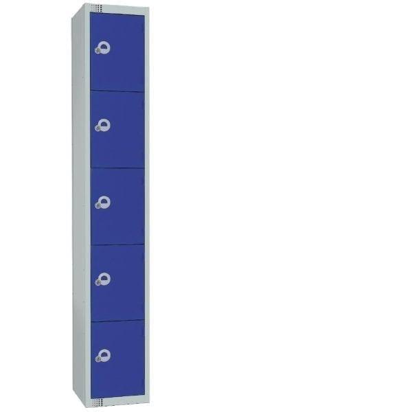 450mm Deep Locker 5 Door Camlock Blue with Sloping Top (Direct)-0