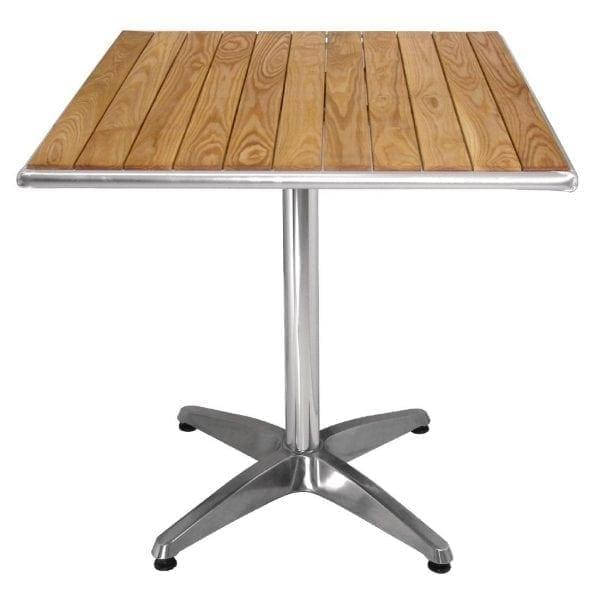 Bolero Square Pedestal Bistro Table Ash & Alu Top - 700mm-0
