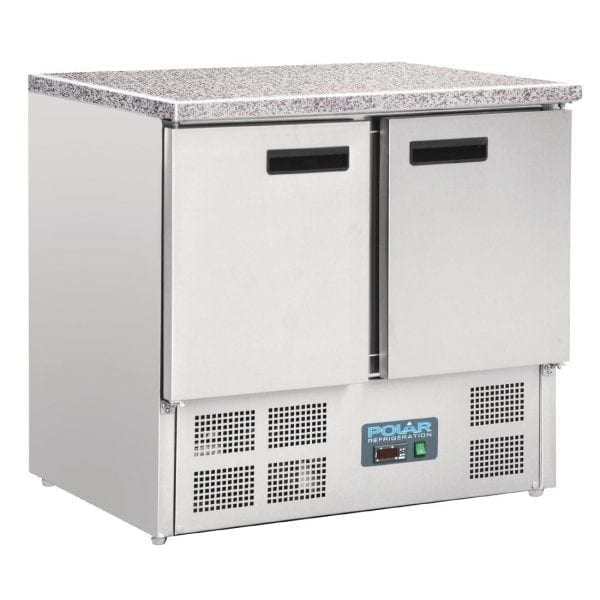 Polar Refrigerated Counter with Marble Work top - 2 doors 240Ltr-0
