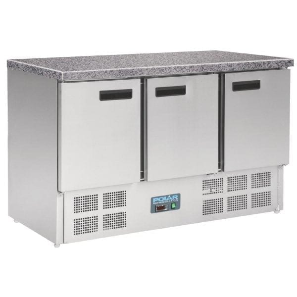 Polar Refrigerated Counter with Marble Work top - 3 doors 368Ltr-0