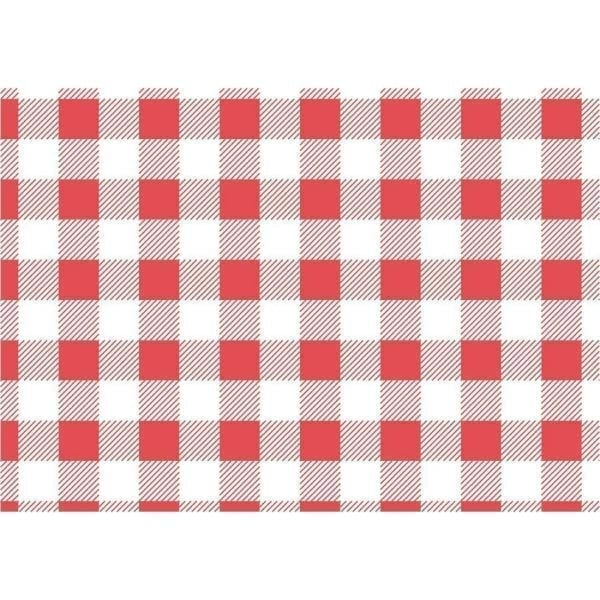 Red Gingham Greaseproof Paper - 250x250mm (Pack 200)-0