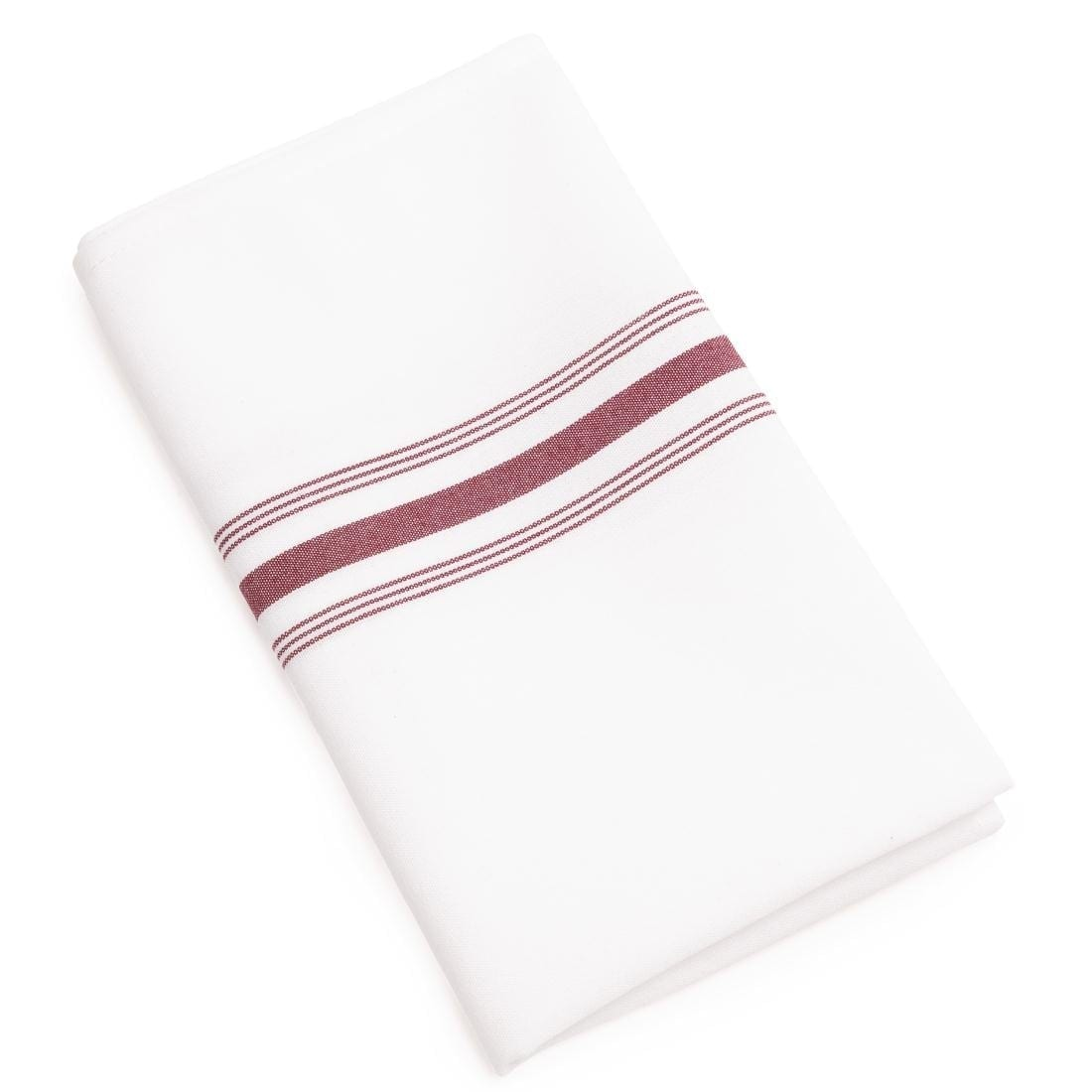 "Burgundy Stripe Trim Bistro Table Napkins - 22x18"" (Pack 10)-0"
