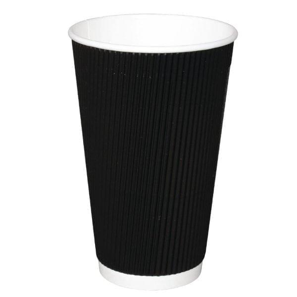 Fiesta Hot Cups Ripple Wall Black - 455ml (16oz) (Box 500)-0