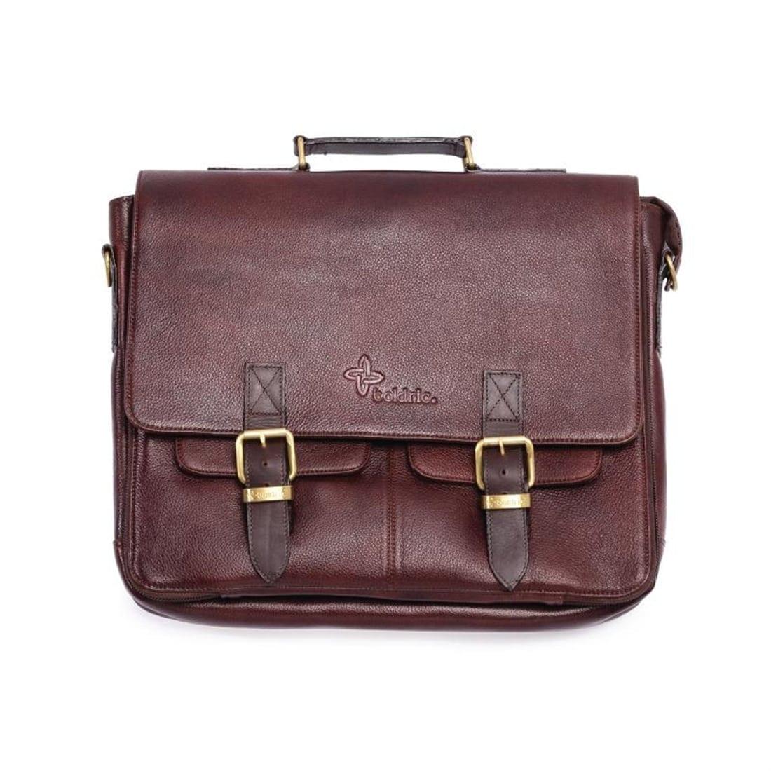 Boldric Brown Messenger Leather Knife Bag 10 Pocket