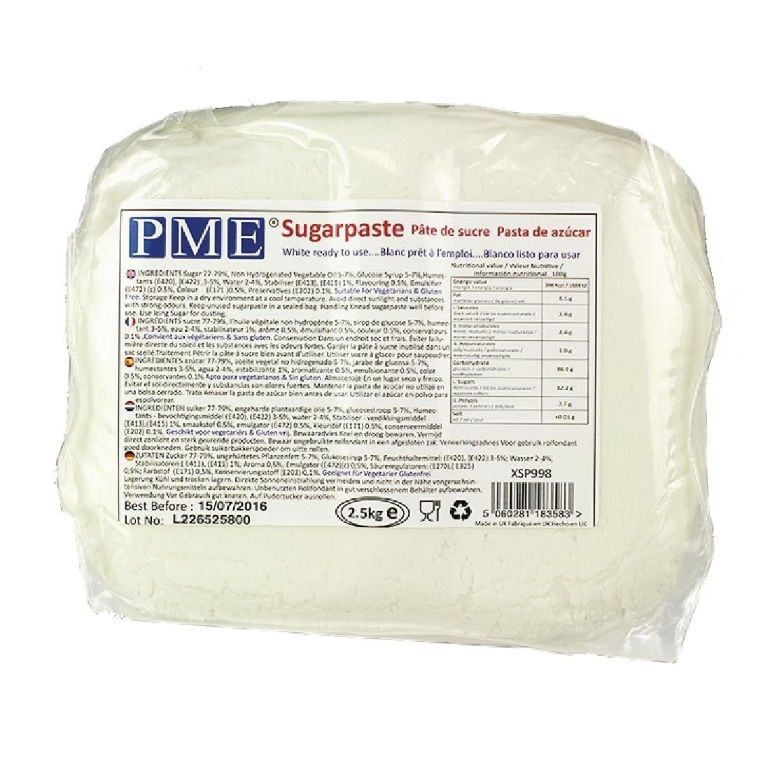 PME Sugarpaste White - 2.5kg-0
