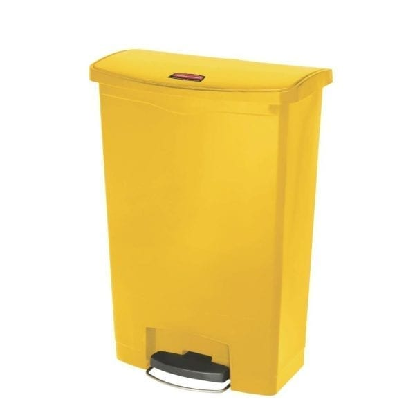 Rubbermaid Slim Jim Step on Resin Front Pedal Yellow - 90Ltr (B2B)-0