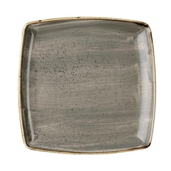 "Churchill Stonecast Deep Square Plate Peppercorn Grey - 10.25"" (Box 6) (Direct)-0"