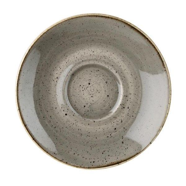 "Churchill Stonecast Cappuccino Saucer Peppercorn Grey - 6.25"" (Box 12) (Direct)-0"