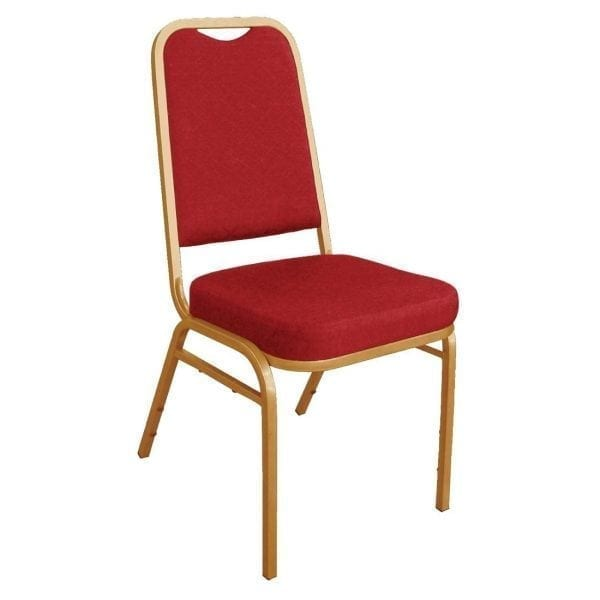 Bolero Banqueting Chair Squared Back Gold Frame Red Plain Cloth (Pack 4)-0