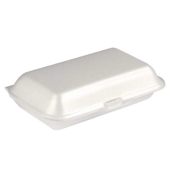 Foam Small White Meal Box Hinged (Pack 500)