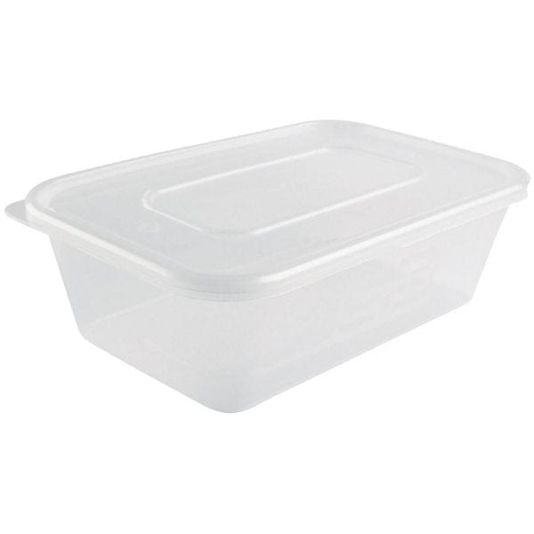Microwave Plastic Container - 650ml with Lids (Box 250)-0