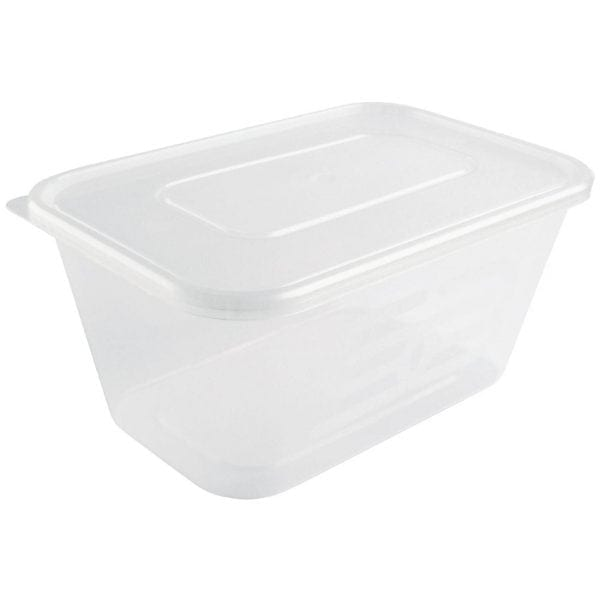 Microwave Plastic Container - 1000ml with Lids (Box 250)-0