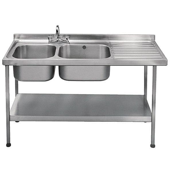 Sissons St/St Sink1500x600mm Dbl L/H Bwl taps R/H Drnr Mini Range F/Asmb(Direct)-0