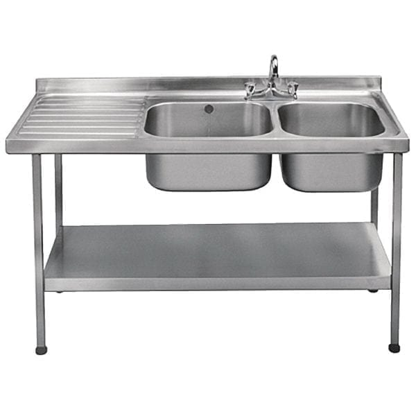 Sissons St/St Sink1500x600mm Dbl R/H Bwl taps L/H Drnr Mini Range F/Asmb(Direct)-0