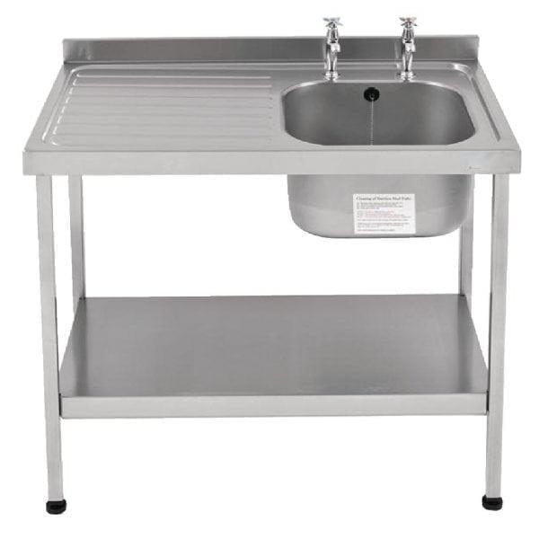 Sissons St/St Sink 1200mm R/H Bowl & taps L/H Drainer Mini Range F/Asmb(Direct)-0
