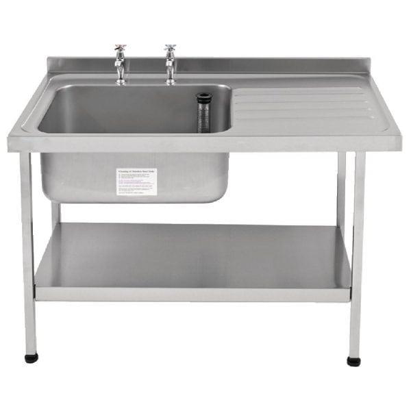 Sissons St/St Sink 1200mm L/H Bowl & taps R/H Drainer Midi Range F/Asmb(Direct)-0