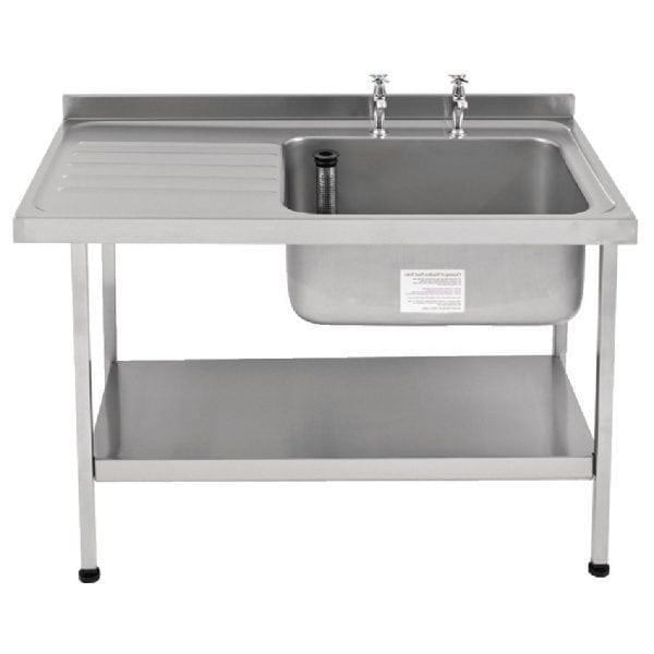 Sissons St/St Sink 1200mm R/H Bowl & taps L/H Drainer Midi Range F/Asmb(Direct)-0