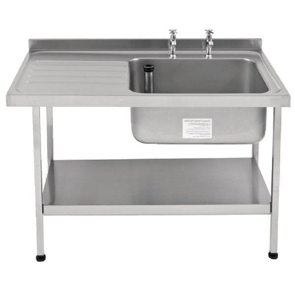 Sissons St/St Sink 1500mm R/H Bowl & taps L/H Drainer Midi Range F/Asmb(Direct)-0