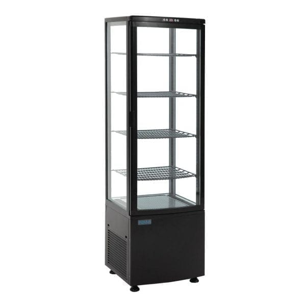 Polar Chilled Display with Curved Glass Door Black - 235Ltr-0