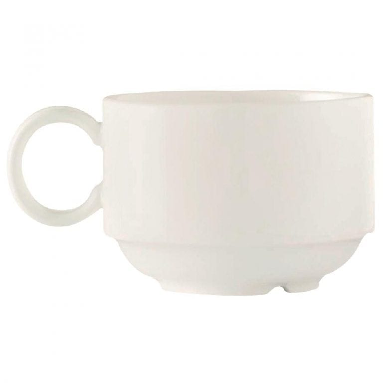 C&S Embassy White Stackable Cup - 6 3/4oz 190ml (Box 24) (B2B)-0