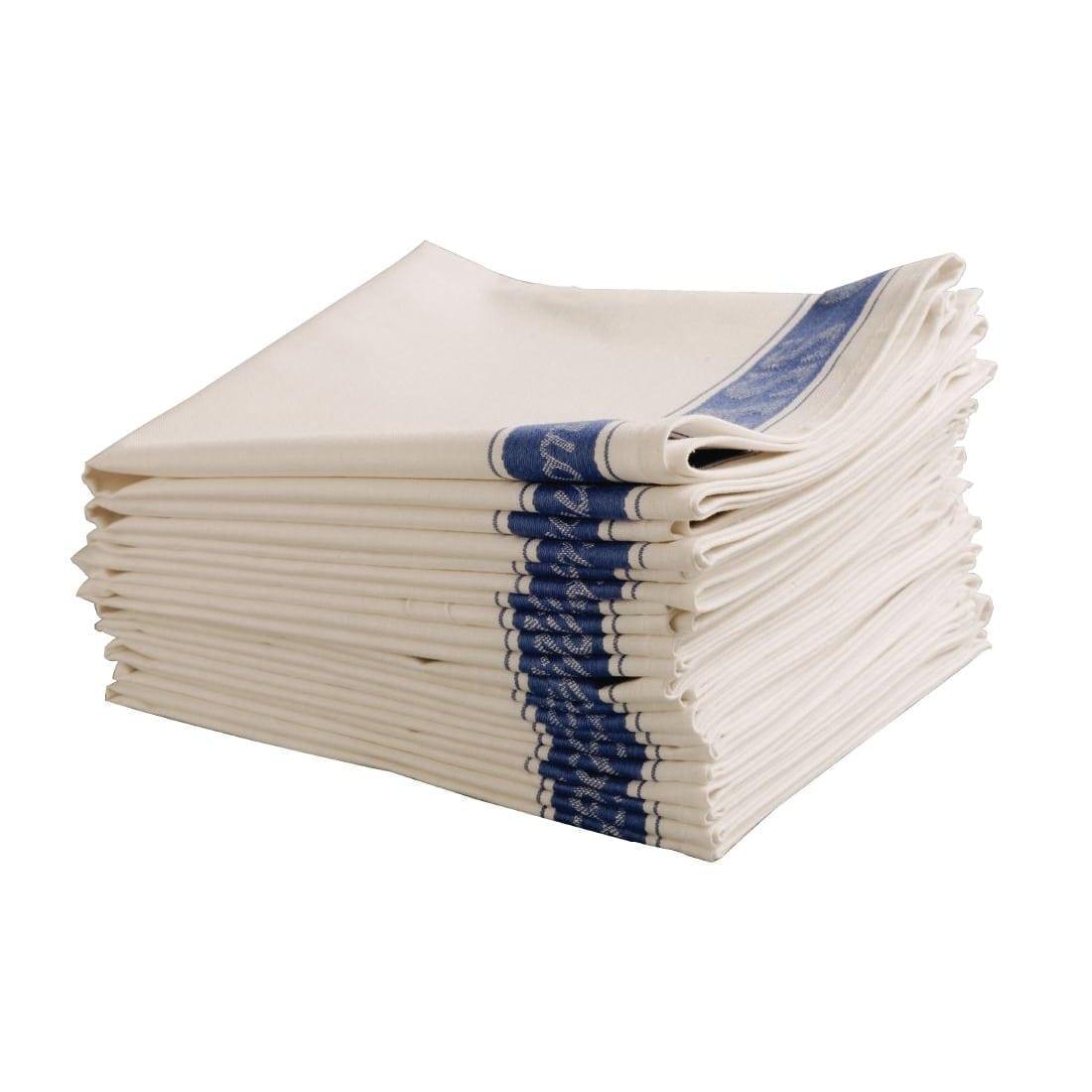 "Glass Cloth Linen Union Blue Border - 30 x 20"" - Each"