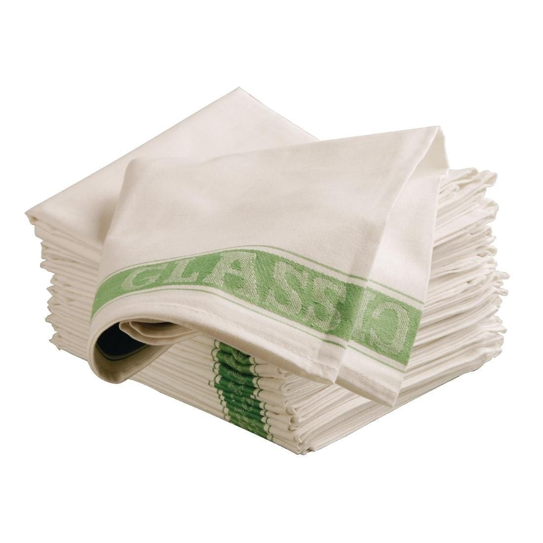 "Glass Cloth Linen Union Green Border - 30 x 20"" - Each"