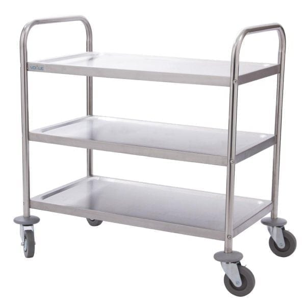 "Vogue 3 Tier Flat Pack Trolley St/St - 825Hx710x405mm 32.5x28x16""-0"