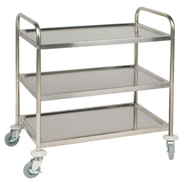 Vogue 3 Tier Flat Pack Trolley St/St - 855Lx535Wx940mmH-0