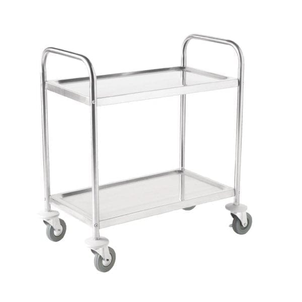 "Vogue 2 Tier Flat Pack Trolley St/St - 825x710x405mm 32.5x28x16""-0"