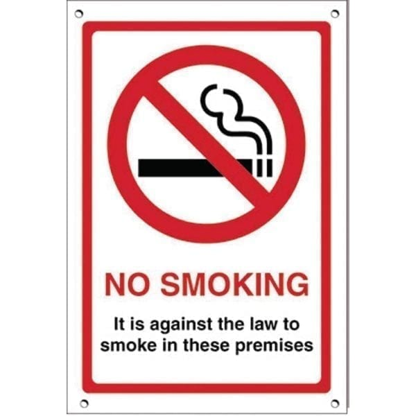 Eng. Against The Law Smoke in Premises - 200x150mm (Self-Adhesive)-0