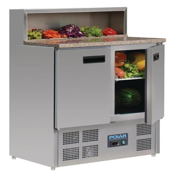 Polar Refrigerated 2 Door Pizza Prep 900mm Counter Marble Top (UK)-0