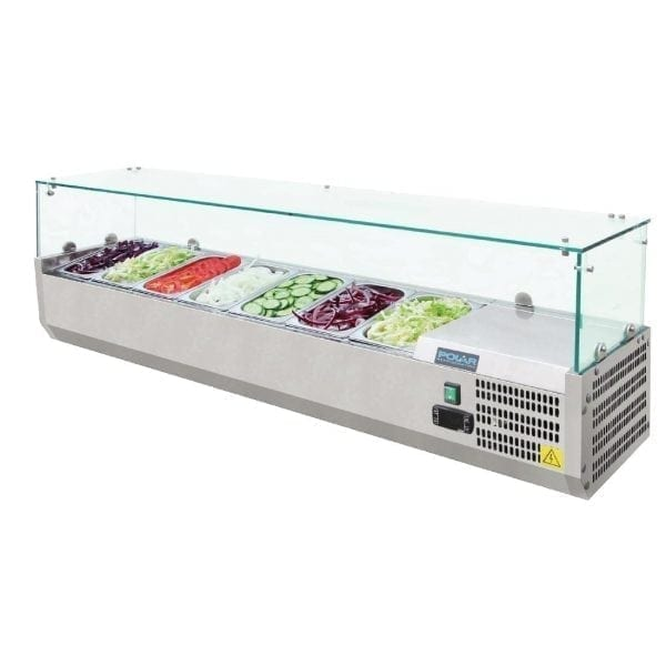 Polar Refrigerated Counter Top Prep/Servery - 1500mm 7 GN 1/4 (UK)-0