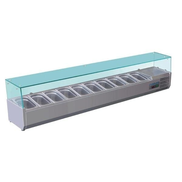 Polar Refrigerated Counter Top Prep/Servery - 2000mm 10 GN 1/4 (UK)-0