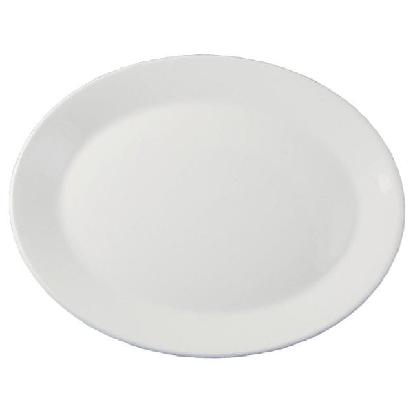 "Dudson Classic White Oval Platter (Rimless) 8 7/8"" 22.5cm (Box 24) (Direct)-0"